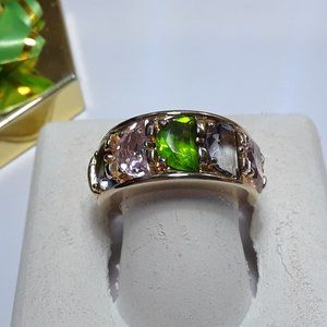 4.5ctw Multi-Color Moon Cut CZ 925/14Kt Band#14322